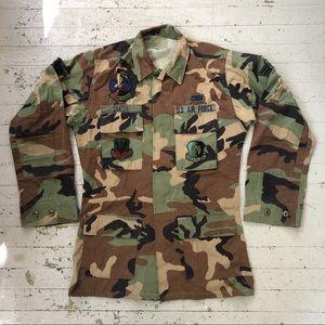 Vintage 90s USAF Woodland Camo Jacket Men's Small